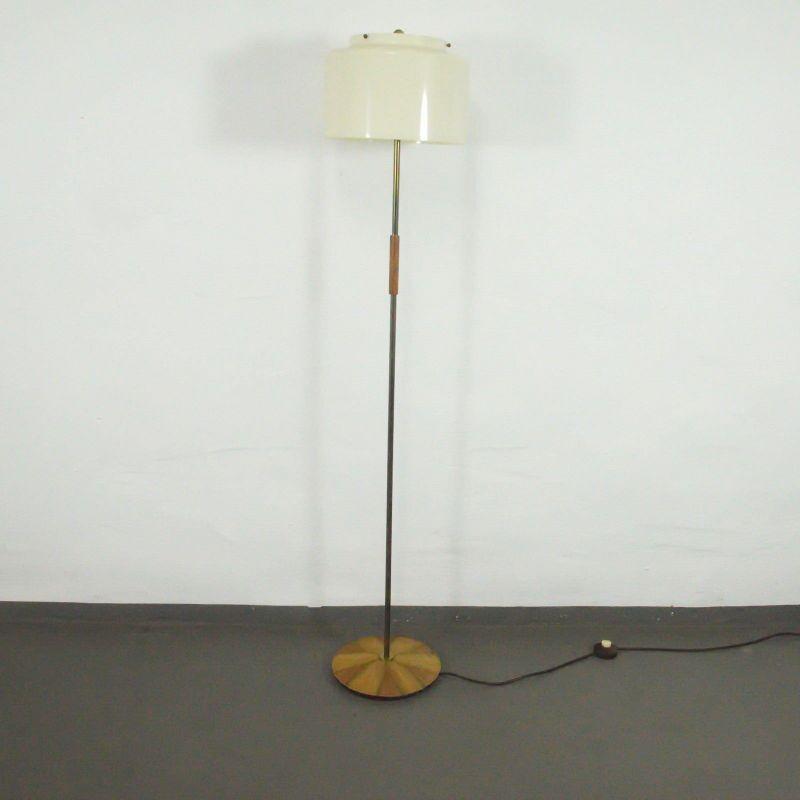 VINTAGE STEHLAMPE VON HUSTADT LEUCHTEN NUSSBAUM PLASTIK 2x E27 LAMPE Ende 50er