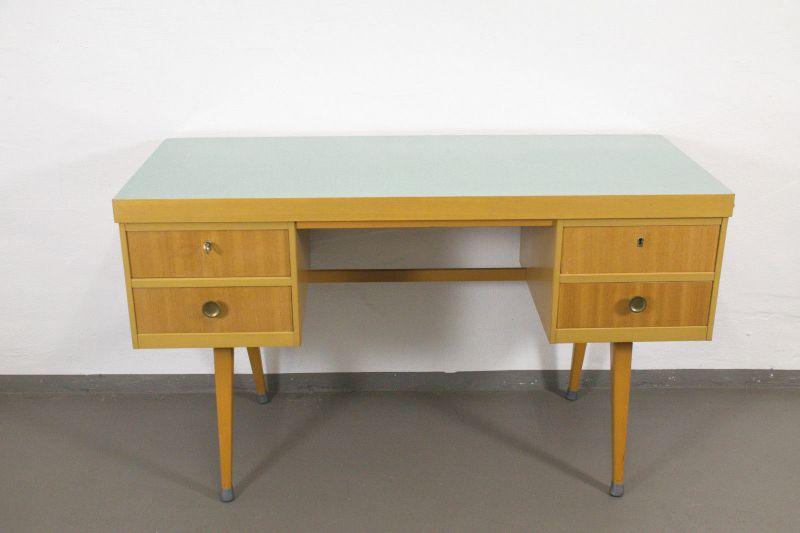 VINTAGE SCHREIBTISCH Desk EKA Werk Resopal Plywood 4 Schubladen Kult 50er 60er
