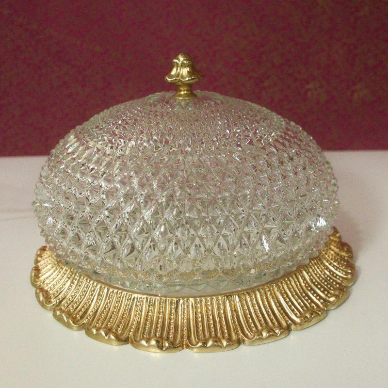 Mid Century Plafonnier Lampe Vintage Deckenlampe LIMBURG Kristallglas 60er Jahre