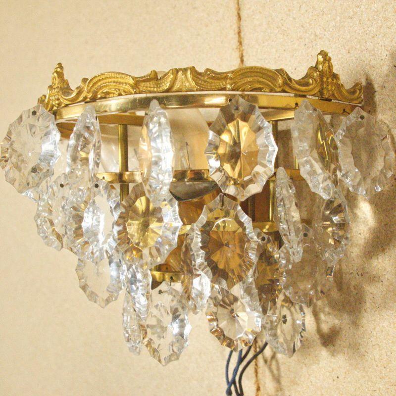 PAWLA Mid Century Lampe Kristallglas 35 Prismen Gold 2x E14 60er Jahre Wandlampe