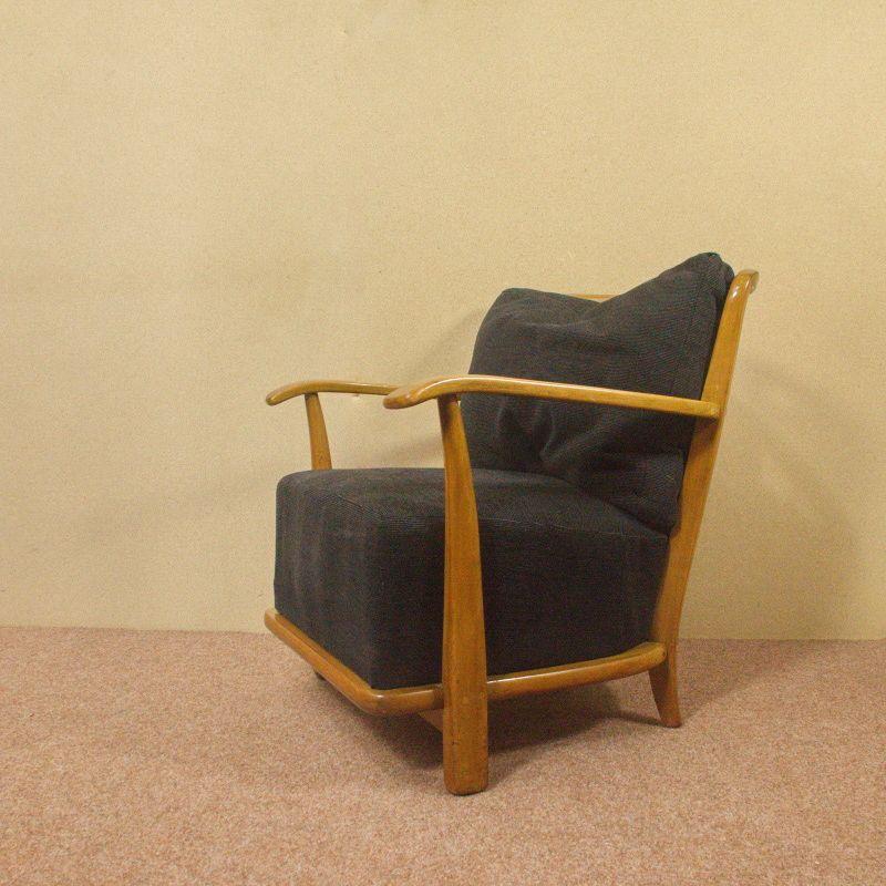 Vintage Sessel Easychair im Stil von Antimott Kirschbaum Cord schwarz 50er Jahre