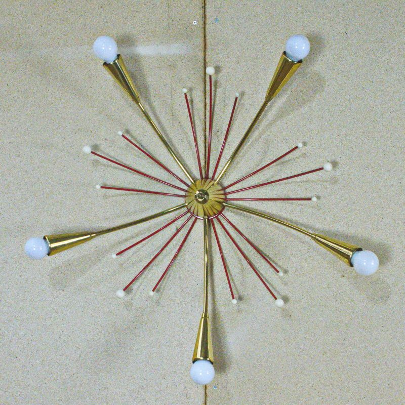 5-armige Sputnik Deckenlampe Vintage Orbit Lampe rot gold E14 Rockabilly 50er