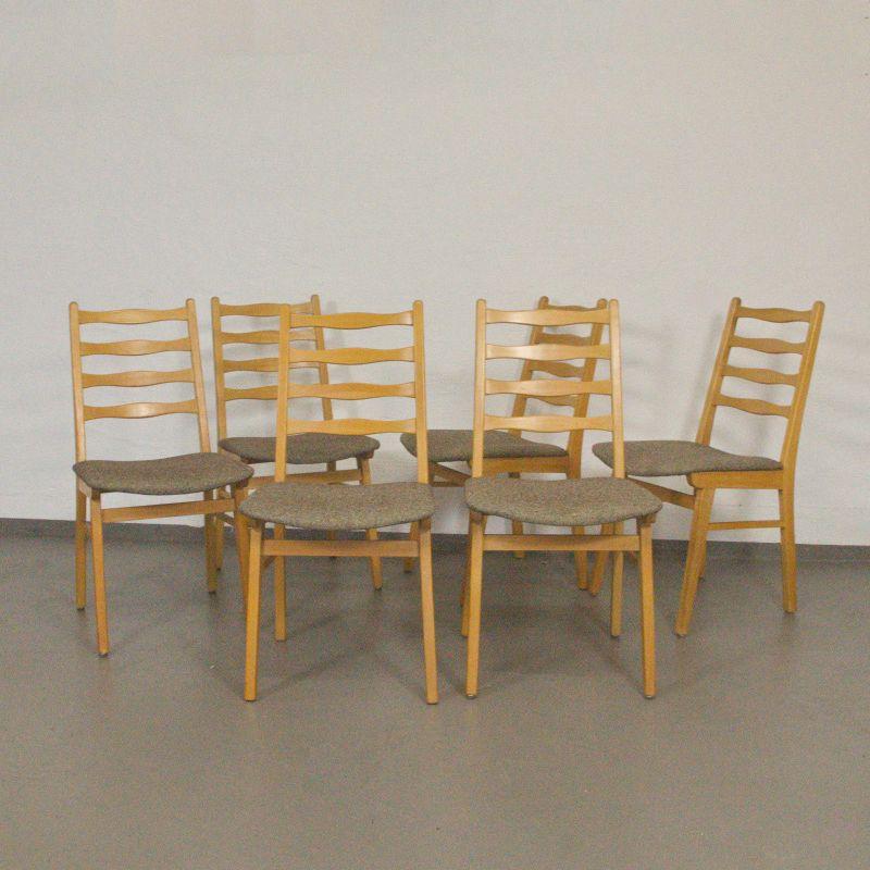 6x Polsterstuhl Esszimmerstuhl Neu gepolstert Buchenholz Vintage Stuhl 60er TOP