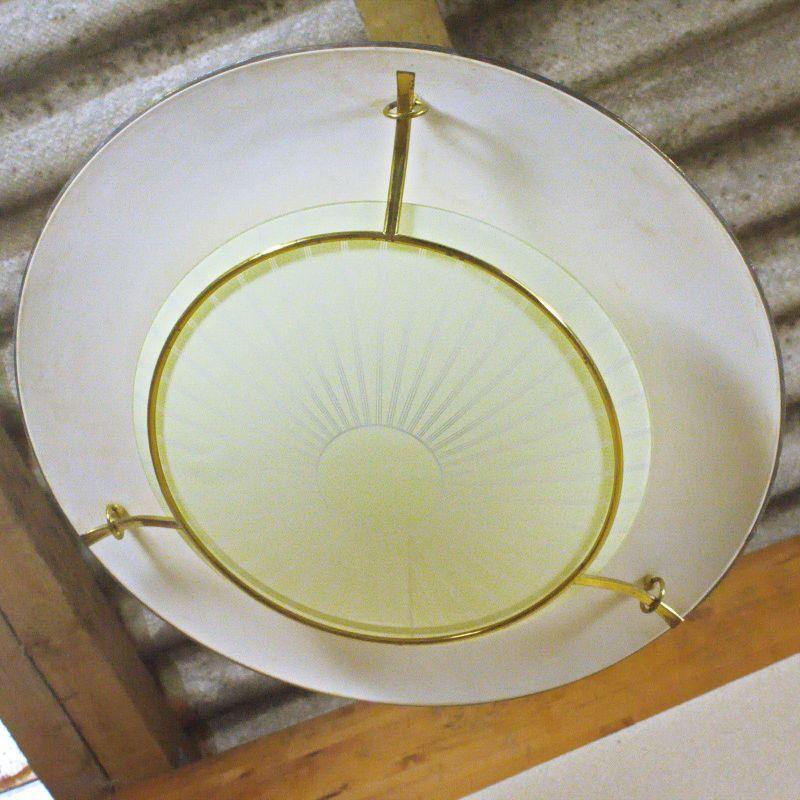 XXL UFO Deckenlampe 76 cm Messing Glas Vintage Lampe aus Erstbesitz 50er Jahre