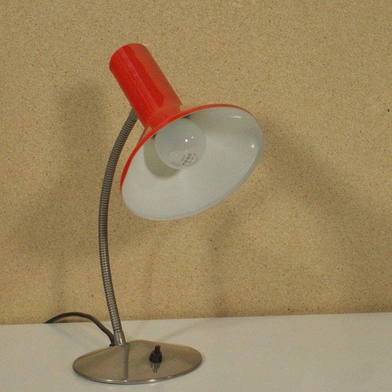 VINTAGE Schreibtischlampe Tischlampe ORANGE Schwanenhals POP ART Lamp 60er Jahre