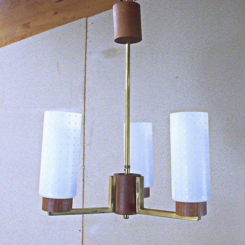 Mid Century Hängelampe Deckenlampe Teak Messing 3 Gläser Danish Design 60er