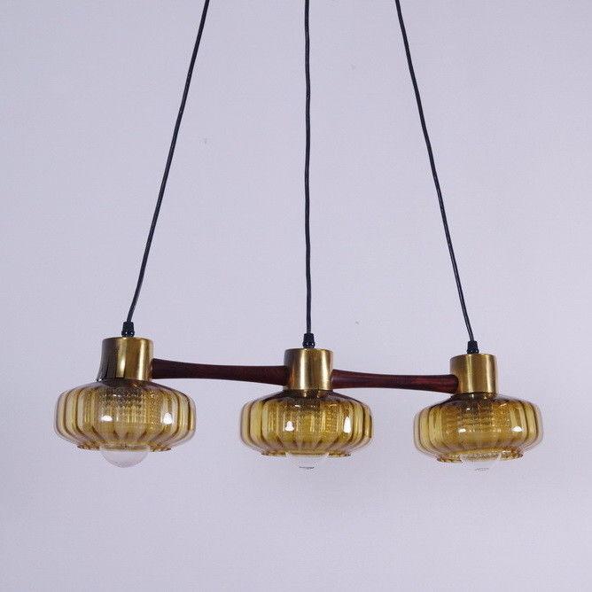 Mid Century Teak Pendelleuchte Vintage Lampe Schweden 3 gelbe Gläser  60er Jahre