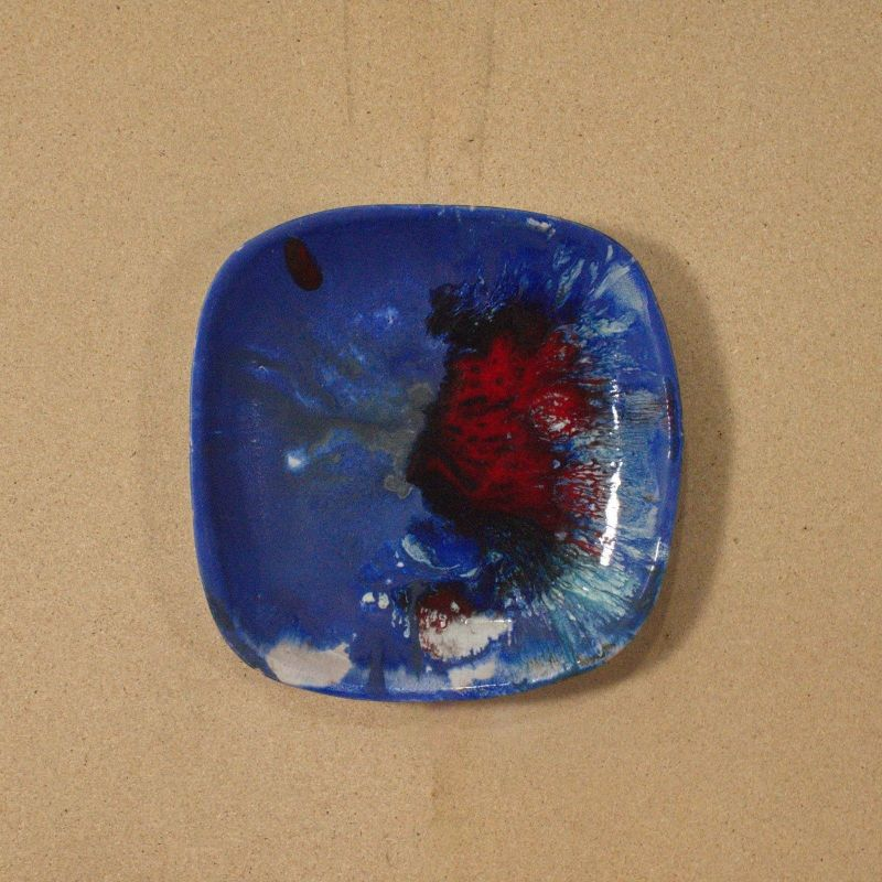 Wandkeramik von IB LANGLOTZ Vintage Objekt Rot Blau UNIKAT dekorativ 60er Jahre