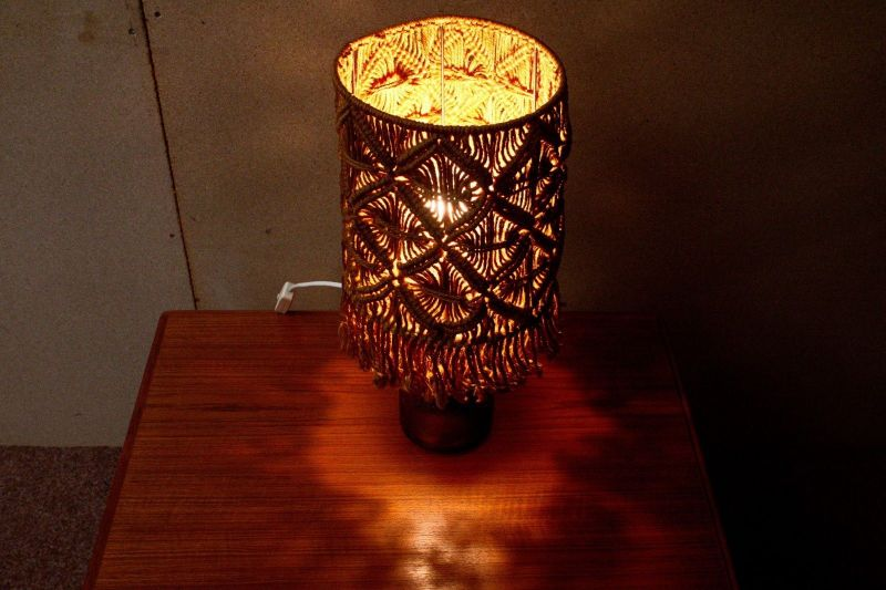 VINTAGE Tischlampe Landhaus Stil Makrame Party Fest Feier Lampe Frankreich 60er 5