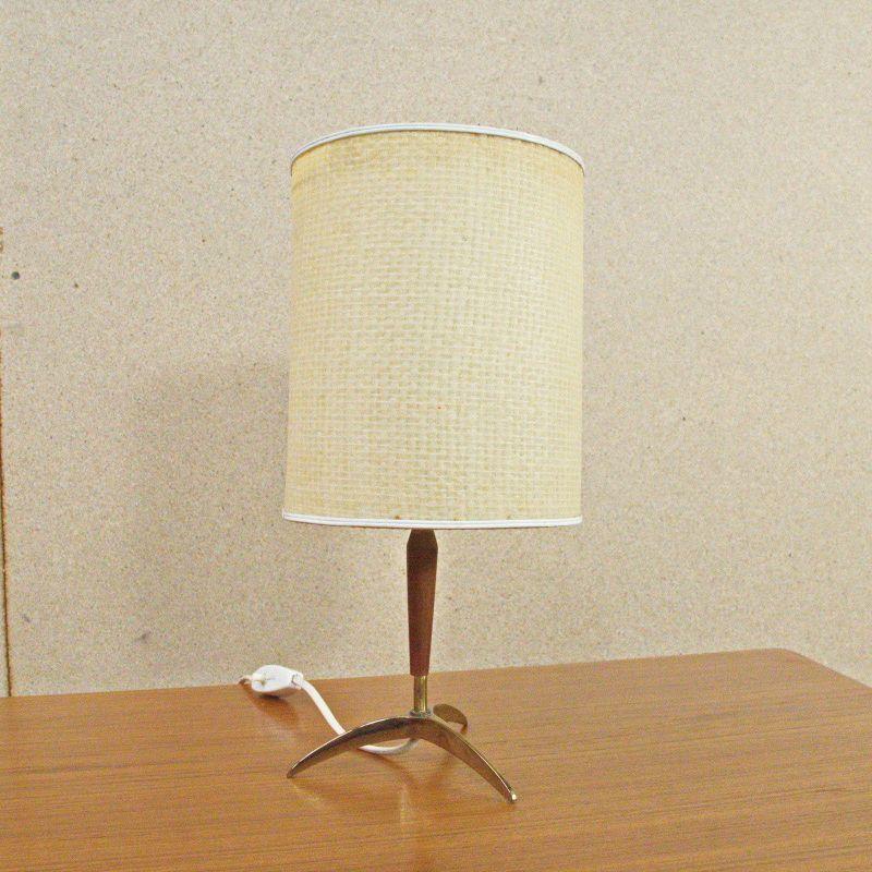 Mid Century Tischlampe mit Dreifuß, TEAK Vintage Lampe Vermessingt 60er Jahre