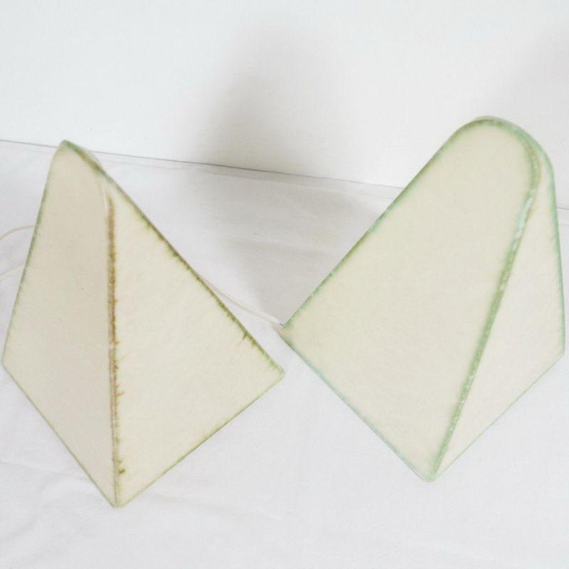 2 Cocoon Tischlampen Nachttischlampen Pyramide GOLDKANT Vintage Lampe 60er