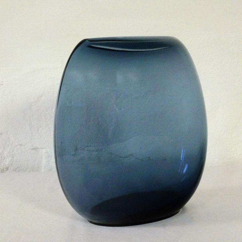 Große Glasvase Mid Century Sommerso Stil blau Denmark Danish Design Vase 60er