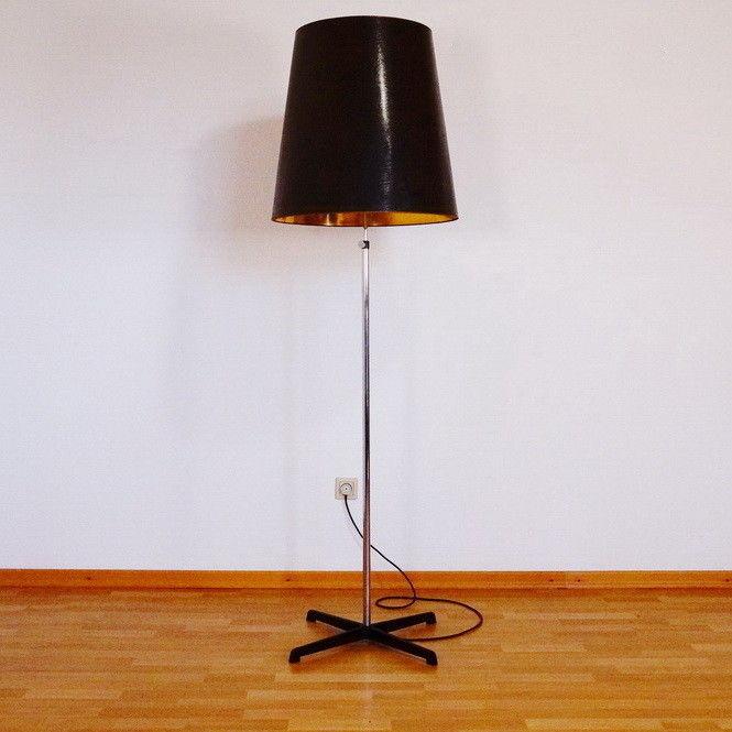 Vintage Stehlampe mit Kreuzfuß Papierschirm STAFF Leuchten Designlampe 60er