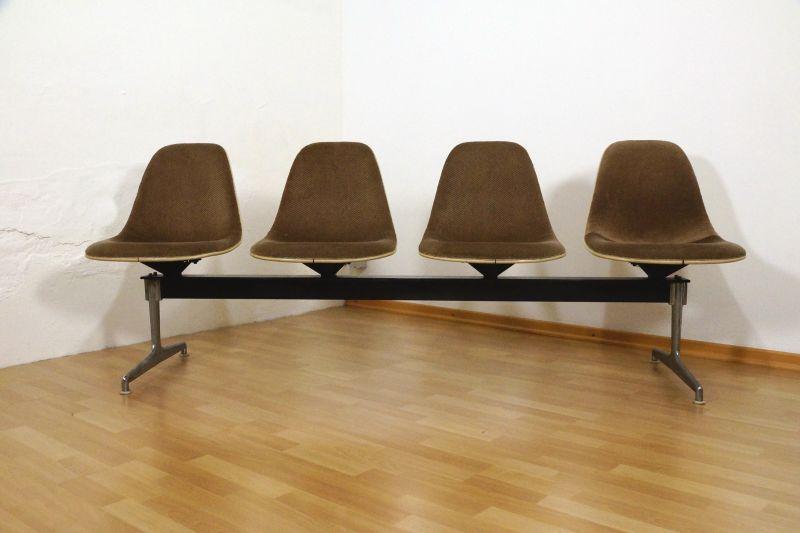 Mid Century Bank 4 Schalen Charles Eames Herman Miller kein VITRA gepolstert RAR 60er