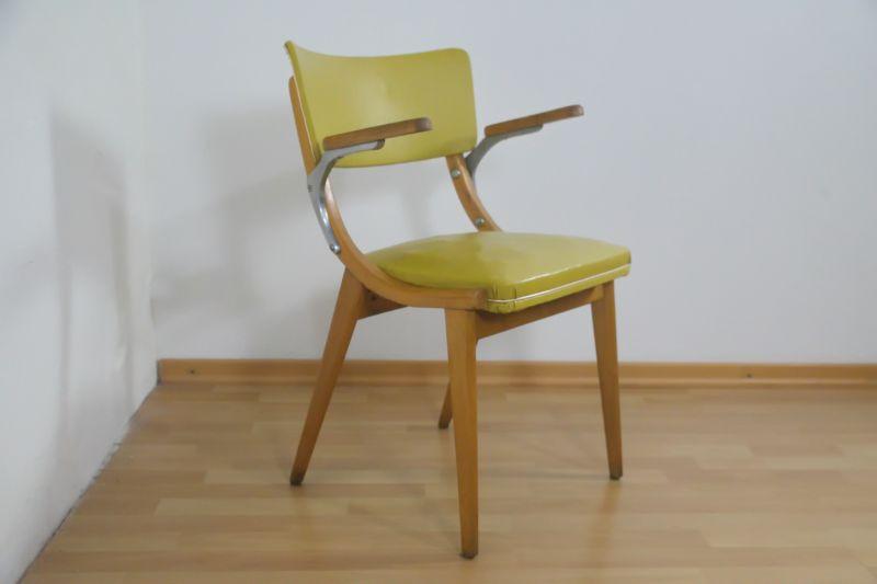 Vintage Küchenstuhl, Stuhl mit Kunstleder, in gelb und Armlehnen, 50er Jahre
