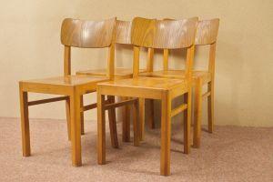 Art Deco Vintage Stuhl Holzstuhl Stühle LÜBKE 4x | 40er 50er