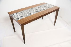Mid Century kleiner Tisch Vintage Blumenbank Nussbaum Mosaik 60er