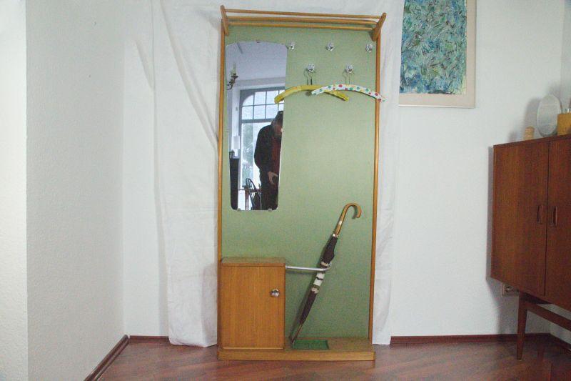 Vintage Garderobenwand mit Spiegel, Grün Buche | 50er Garderobe Flurgarderobe