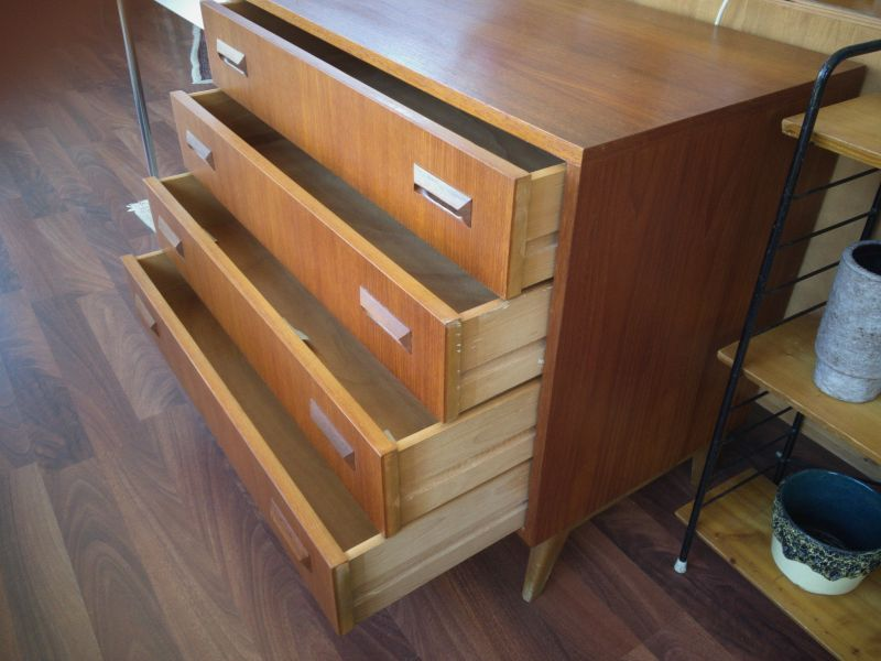 Mid Century Teak Kommode 4 Schubladen Danish Design Teakholz 60er 6