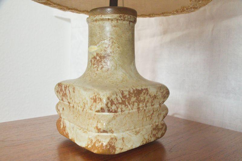 Mid Century Facette Kreutz Keramik Tischlampe Vintage Lampe 4-eckig   1960er 1