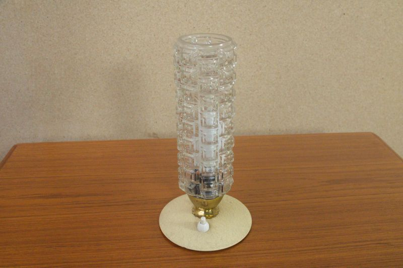Vintage Tischlampe Rockabilly Lampe rund Schrumpflack gelb 50er 1