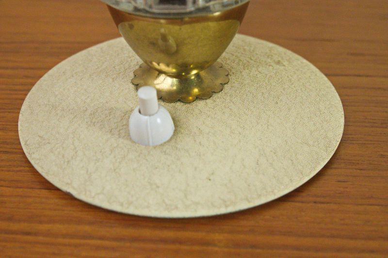 Vintage Tischlampe Rockabilly Lampe rund Schrumpflack gelb 50er 3