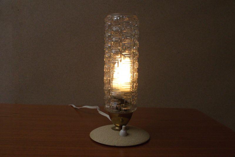 Vintage Tischlampe Rockabilly Lampe rund Schrumpflack gelb 50er 6