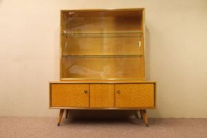 Vintage Sideboard mit Vitrine Aufsatz Highboard Schweizer Birnbaum  50er