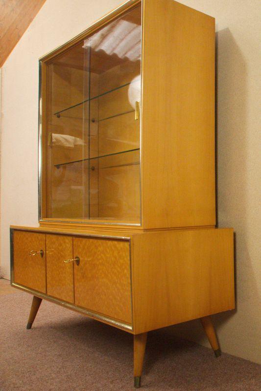 Vintage Sideboard mit Vitrine Aufsatz Highboard Schweizer Birnbaum  50er 1