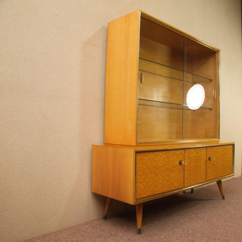 Vintage Sideboard mit Vitrine Aufsatz Highboard Schweizer Birnbaum  50er 2