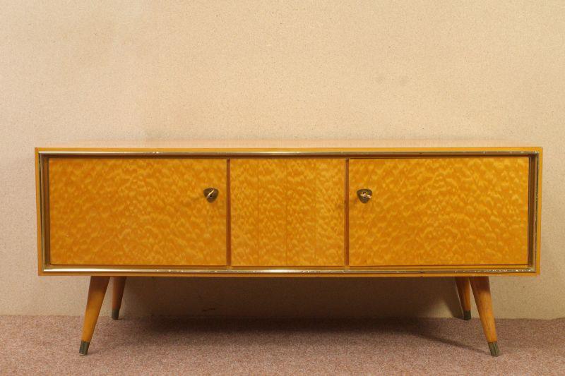 Vintage Sideboard mit Vitrine Aufsatz Highboard Schweizer Birnbaum  50er 3