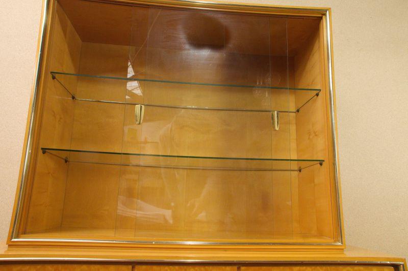 Vintage Sideboard mit Vitrine Aufsatz Highboard Schweizer Birnbaum  50er 4