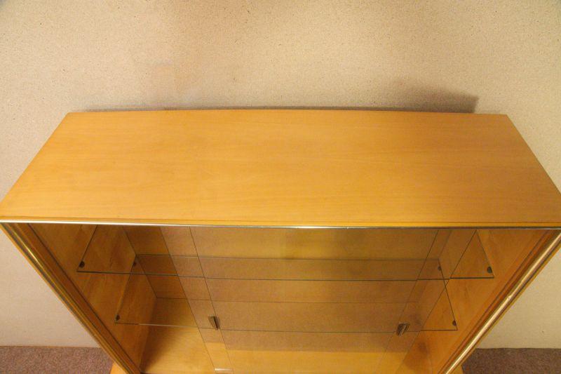 Vintage Sideboard mit Vitrine Aufsatz Highboard Schweizer Birnbaum  50er 9
