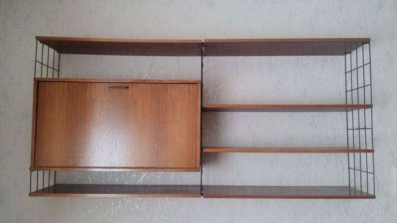 Vintage Wandregal, Regal im String Stil, Nussbaum mit Container 60er Jahre