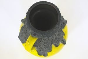 Roth Keramik, Fat Lava Vase, Henkelvase in Gelb | 107-30, 60er Jahre