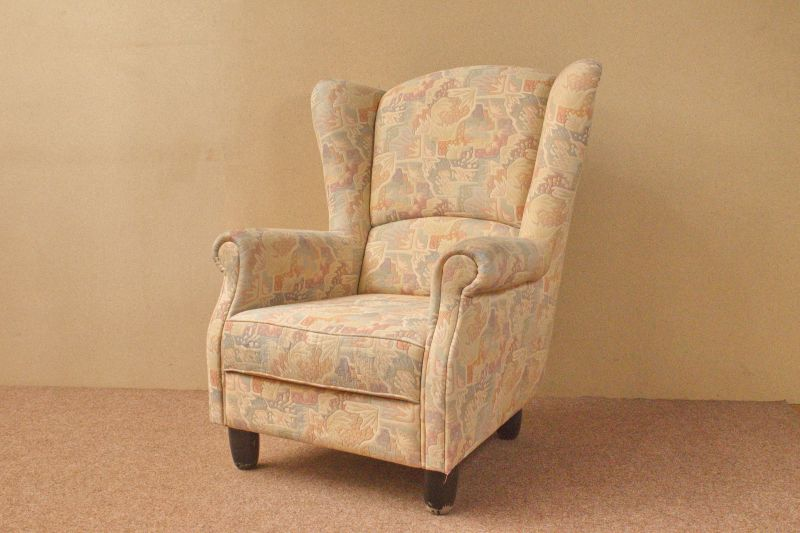 Vintage Sessel, Highback, Ohrensessel mit neuem Bezug/ 50er Jahre