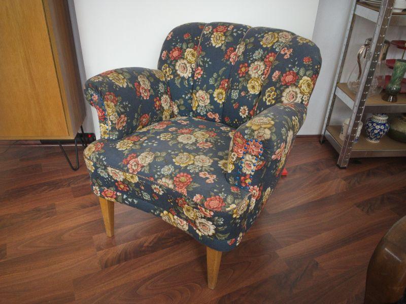 Vintage Sessel Clubsessel Federkern neu gepolstert Blau 50er Jahre 0