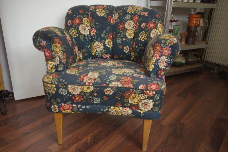 Vintage Sessel Clubsessel Federkern neu gepolstert Blau 50er Jahre 1