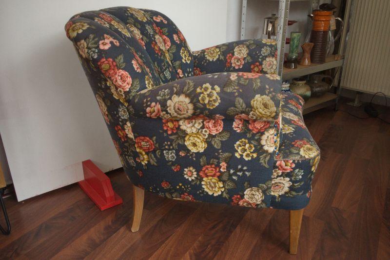 Vintage Sessel Clubsessel Federkern neu gepolstert Blau 50er Jahre 2