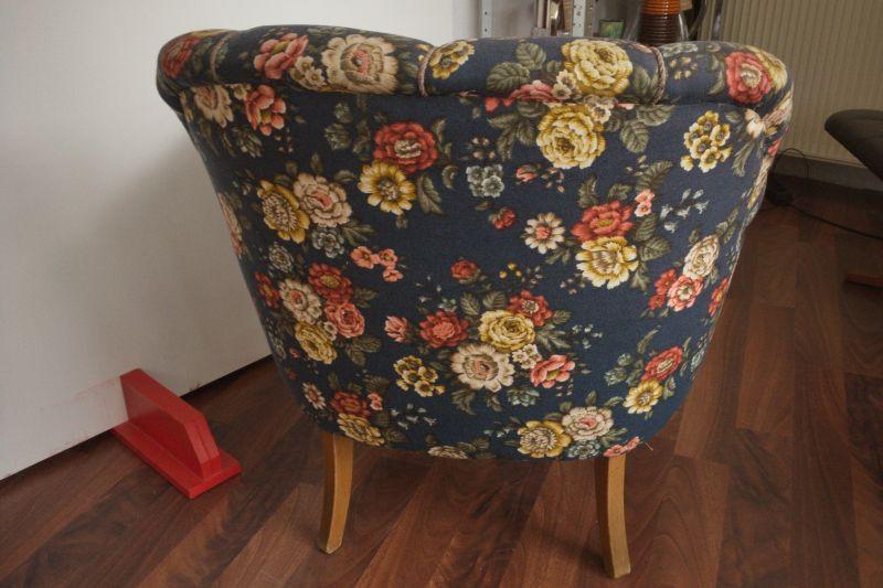 Vintage Sessel Clubsessel Federkern neu gepolstert Blau 50er Jahre 3