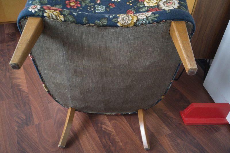 Vintage Sessel Clubsessel Federkern neu gepolstert Blau 50er Jahre 7