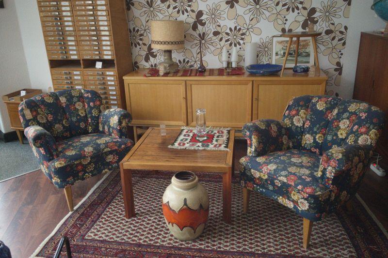 Vintage Sessel Clubsessel Federkern neu gepolstert Blau 50er Jahre 9