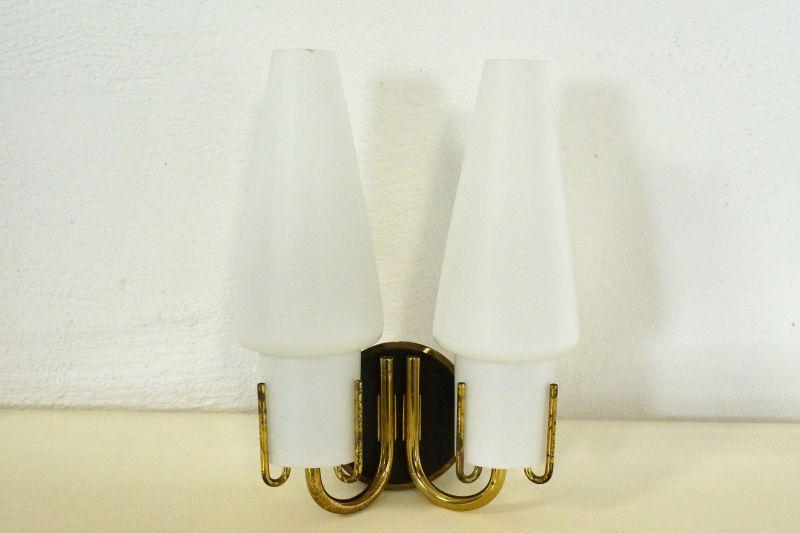 Vintage Wandlampe mit zwei Schirmen, Lampe, Vintagelampe, Metall 60er