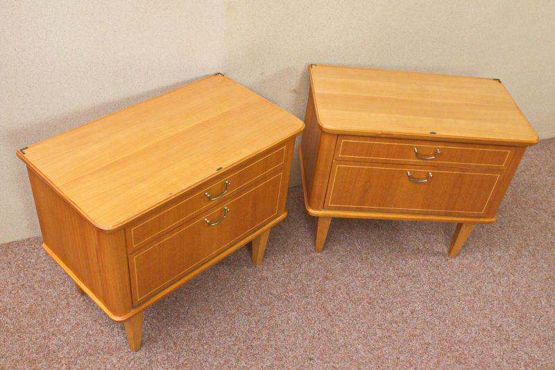 Vintage Kommode Kirsche Furnier Nachttisch 50er 60er 1x vorhanden 3