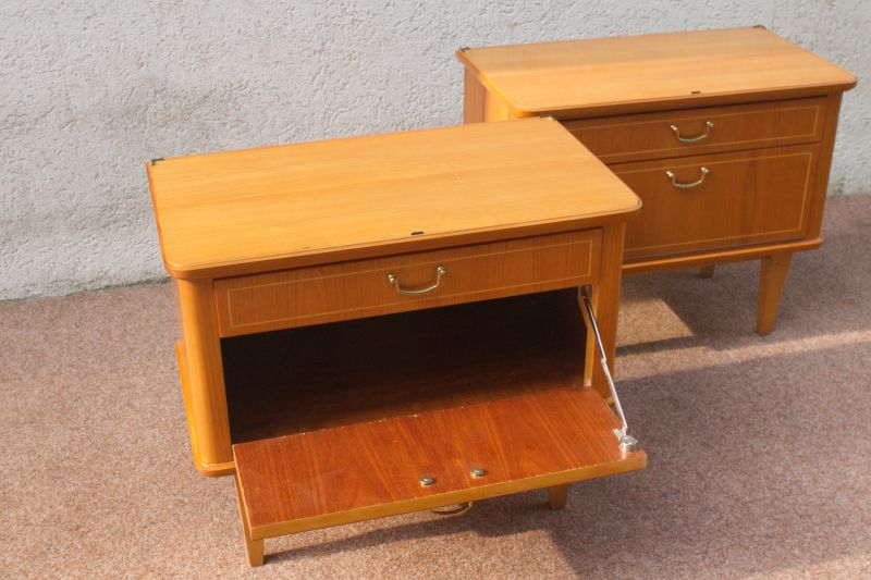 Vintage Kommode Kirsche Furnier Nachttisch 50er 60er 1x vorhanden 4