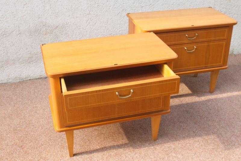Vintage Kommode Kirsche Furnier Nachttisch 50er 60er 1x vorhanden 5
