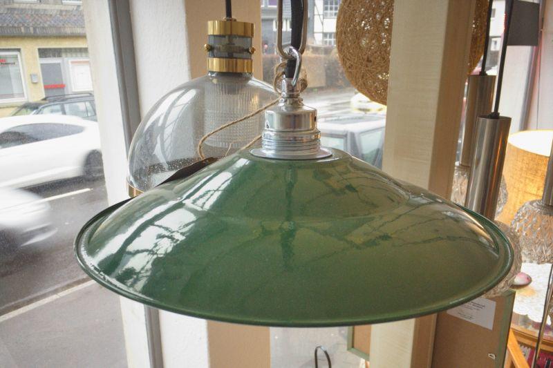 Retro Deckenlampe im Industriedesign der 50er 60er Stil Emaille Grün