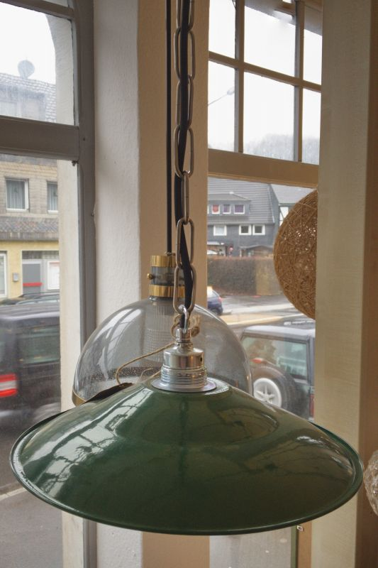 Retro Deckenlampe im Industriedesign der 50er 60er Stil Emaille Grün 2