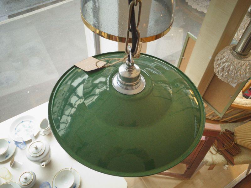 Retro Deckenlampe im Industriedesign der 50er 60er Stil Emaille Grün 5