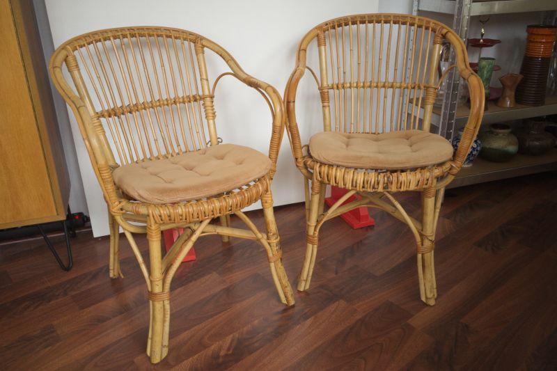 2 Rattan Stühle von Rohè, Noordwolde, Holland Vintage 50er 60er